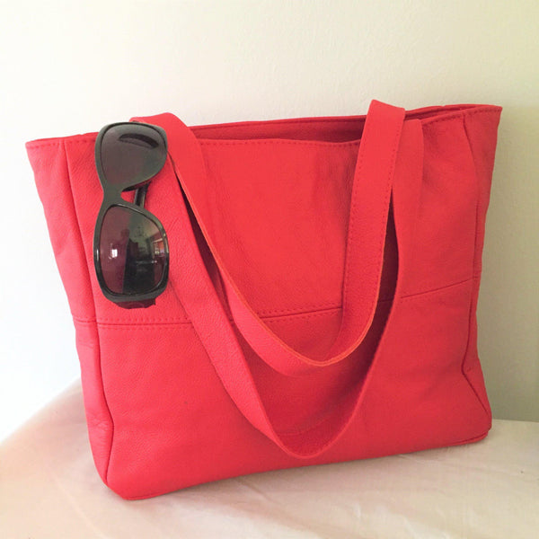 Mirelle Genuine Leather Classic Shopper With Outside Zip - Red - Mirelle Leather and Lifestyle