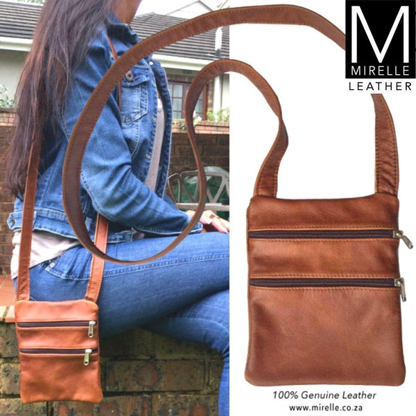 Mirelle Genuine Leather Mini 2 Pocket Crossbody Handbag - Mirelle Leather and Lifestyle