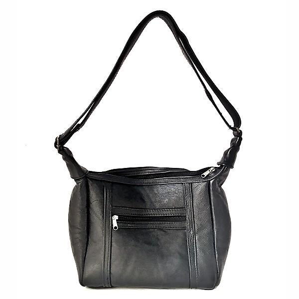 Mirelle Genuine Leather Shoulder Handbag With Adjustable Strap - Black - Mirelle Leather and Lifestyle