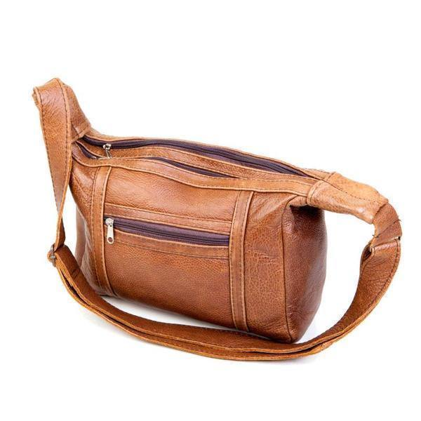 Mirelle Genuine Leather Shoulder Handbag With Adjustable Strap - Tan - Mirelle Leather and Lifestyle