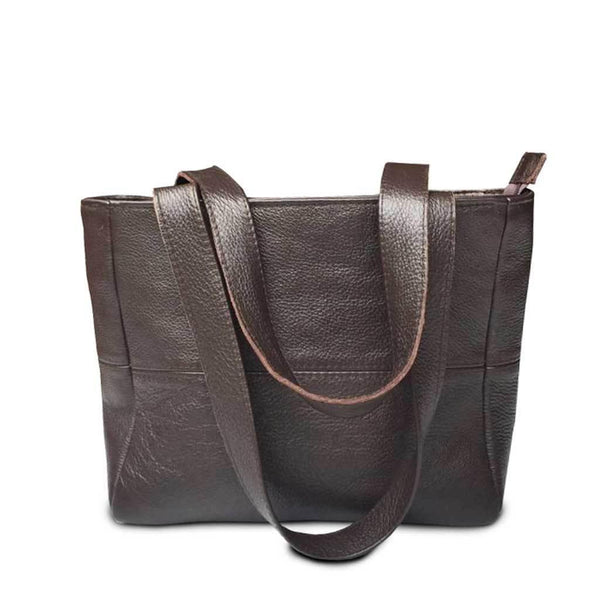 Mirelle Genuine Leather Small Shopper With Outside Zip - Smooth Brown - Mirelle Leather and Lifestyle