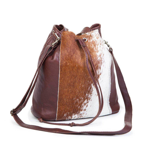 Mirelle Genuine Leather with Nguni Bucket Handbag - Mirelle Leather & Lifestyle