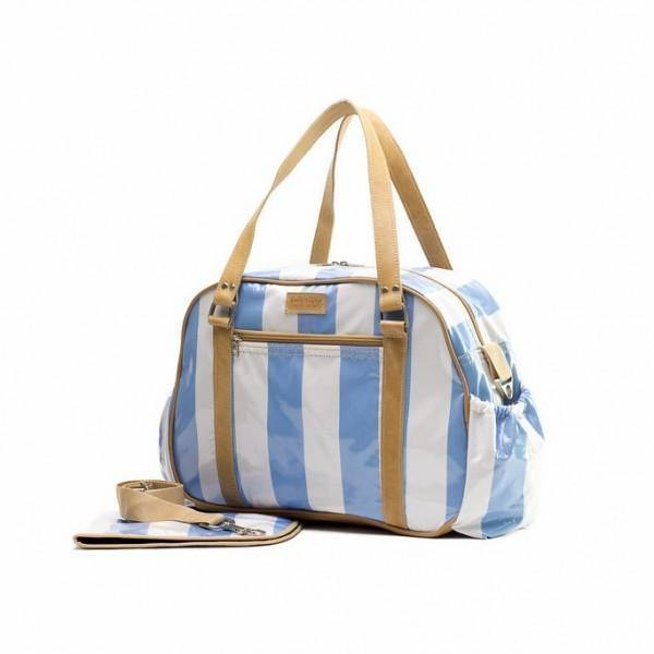 Nappy Bag with Changing Mat - Blue & White - Mirelle Leather & Lifestyle