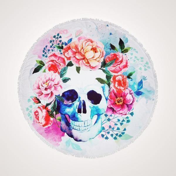 Round Beach Towel | Floral Skull - Mirelle Leather & Lifestyle