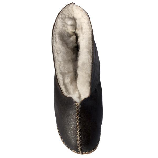 Unisex Genuine Leather Sheepskin Slippers - Brown - Mirelle Leather & Lifestyle