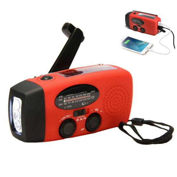 Multifunctional Hand radio Solar Crank Dynamo Powered AM/FM/NOAA Weather Radio Use Emergency LED Flashlight and Power Bank - handiestthings.com