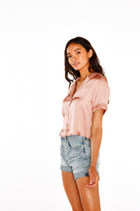 Blush Button-Down Crop