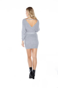 Mock Wrap Sweater Dress