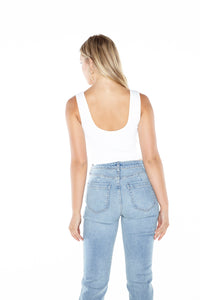 Ribbed Notched Cropped Tank