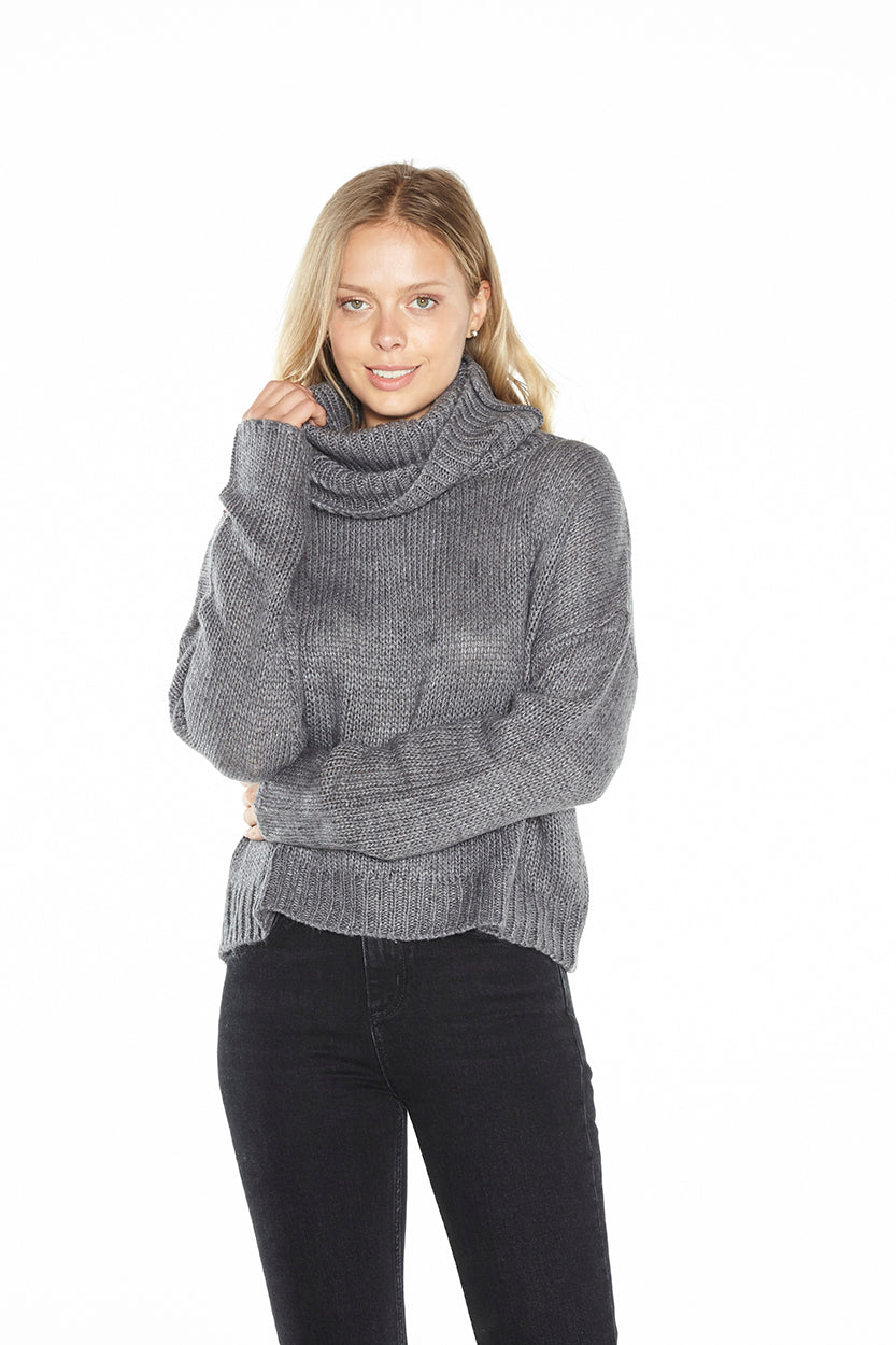 Cut Out Cowl Neck Sweater