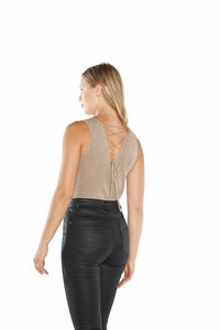 Lace Back Metallic Tank