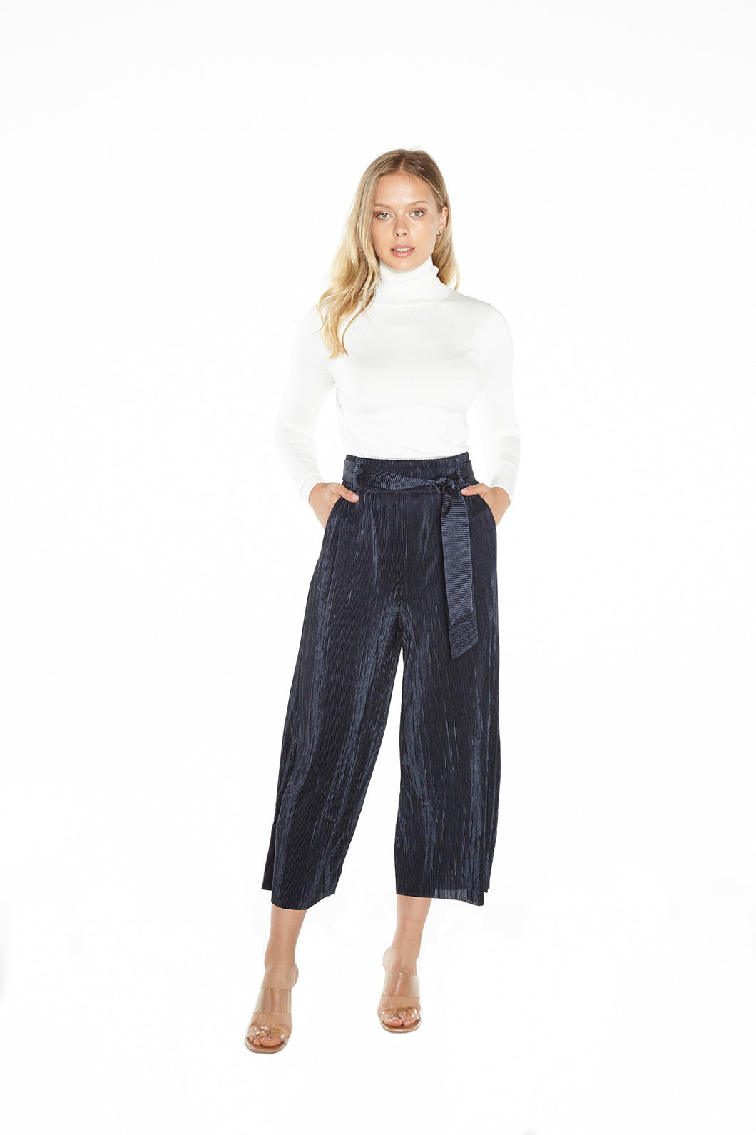 Indigo Pleated Pant