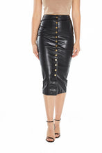 Load image into Gallery viewer, Button Front Vegan Leather Midi Skirt