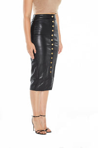 Button Front Vegan Leather Midi Skirt