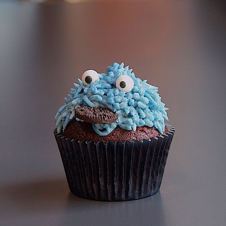 Blue Cookie Monster Cupcake