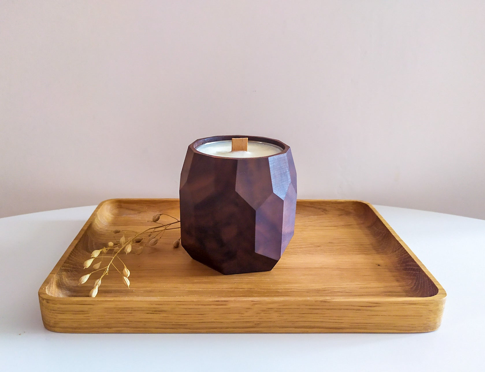 DIY Soy Candle In a Wooden Pot