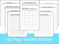 150 Page Teacher Lesson Planner 2019-2020 School Year