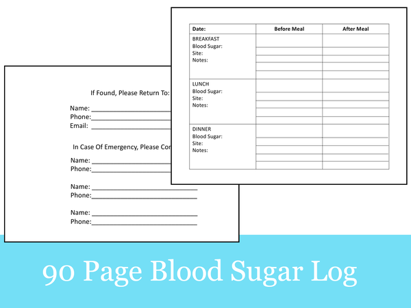 90 Page Blood Sugar Log Book