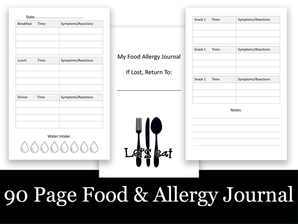 90 Page Food and Allergy Journal