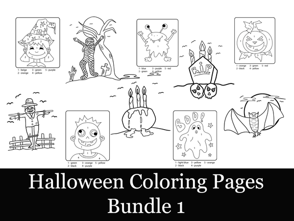 Halloween Coloring Bundle 1-10 Coloring Elements