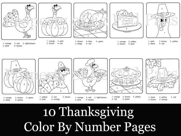 8.5x11, 10 Thanksgiving Color-By-Number Pages