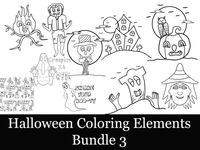 Halloween Coloring Bundle 3-10 Coloring Elements