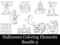 Halloween Coloring Bundle 5-10 Coloring Elements