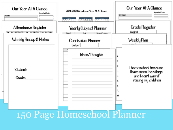 150 Page 2019-2020 Homeschool Academic Planner