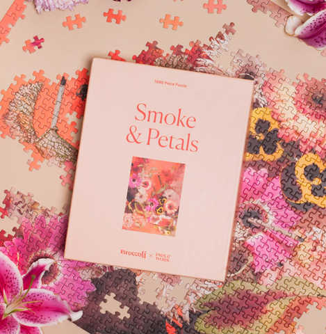 smoke and petals, stoner puzzle, stoner activities, cannabis and art, petty snacks, petty snacks clothing, best cartoons to watch high, stoner cartoons, stoner clothing, 420 activities, best 420 at-home activities,