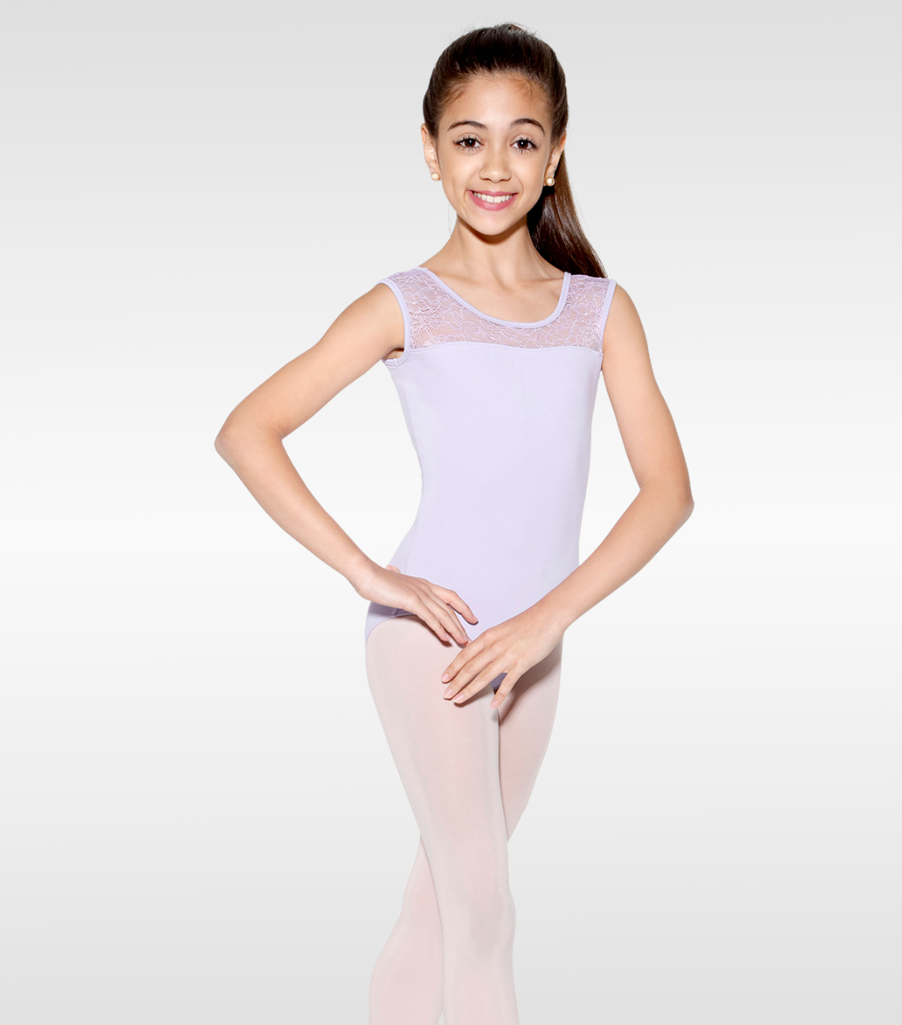 So Danca Girls Tank Leotard with Floral Mesh - D573