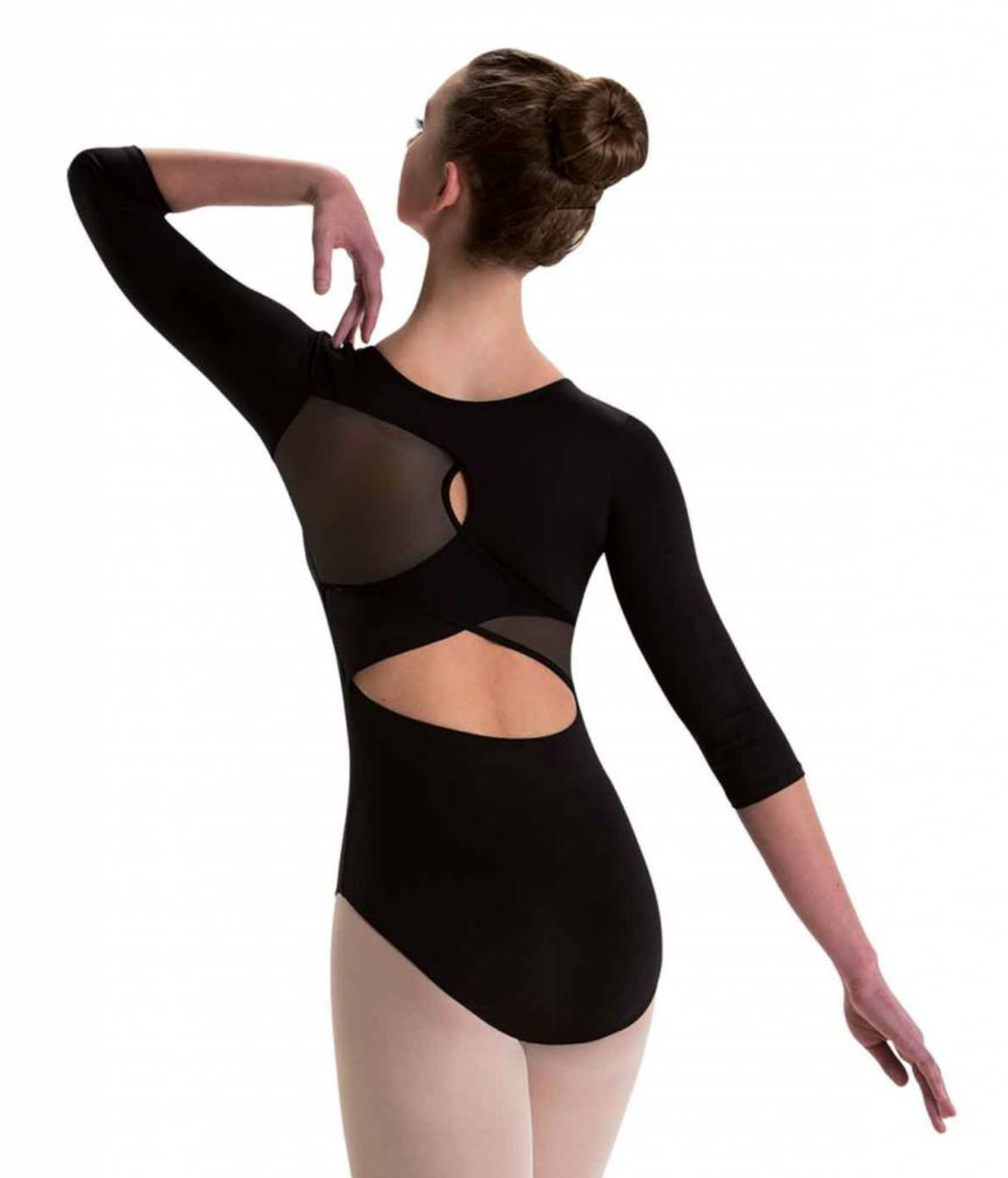 Motionwear Overlap Keyhole Back 3/4 Sleeve Leotard - 2895
