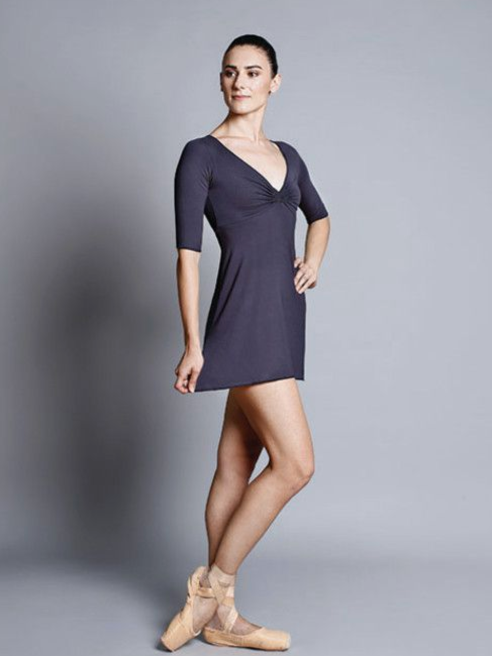 Ballet Rosa Bamboo V-neck Dress - Toshimi