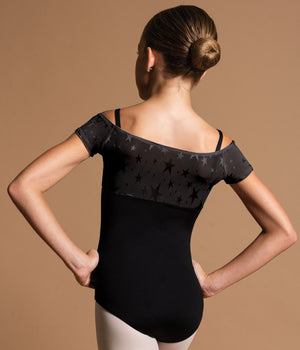 Motionwear Empire Leotard with Mesh Overlay Sleeves - 2646