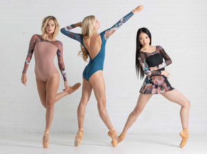 Ballet Rosa Serene Leotard with Floral Mesh Sleeves