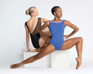 Ballet Rosa Novella Tank Leotard with Embroidered Mesh
