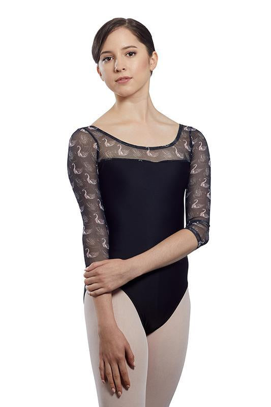 Audition Dancewear Girls Colleen Leotard with Swan Print Mesh