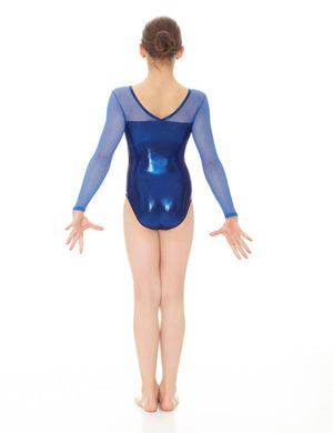 Mondor Metallic Gymnastics Leotard with Mesh Sleeves - 17890