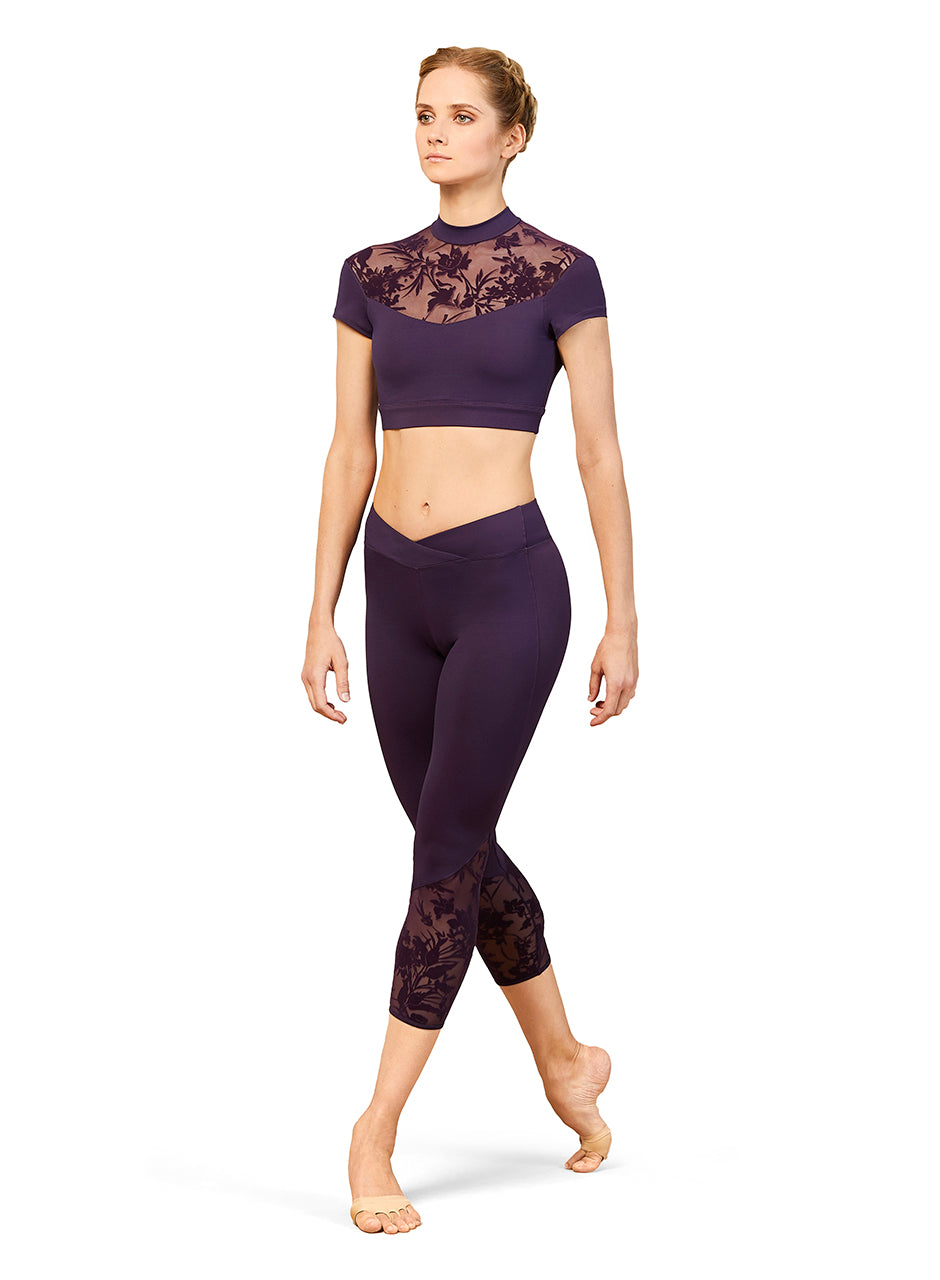 Bloch Leggings with Floral Mesh Insert - FP5223