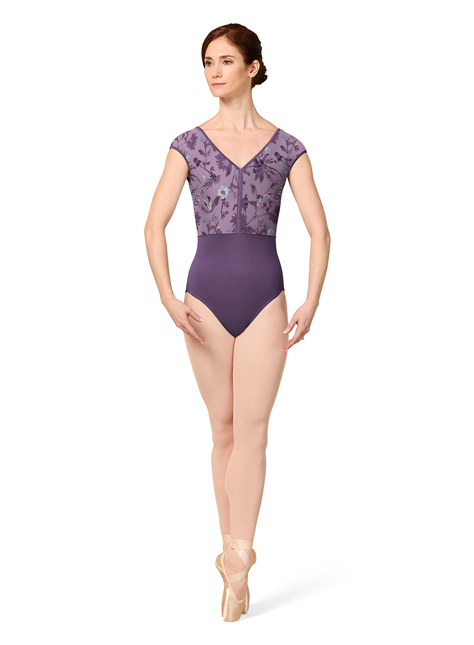 Mirella Cap Sleeve Leotard with Contract Binding - M5089LM