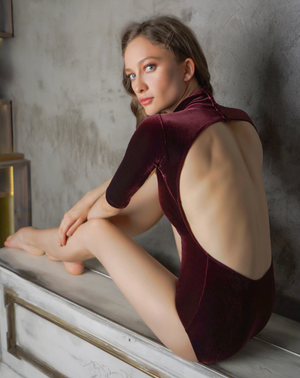 Eleve Dancewear Molly Leotard in Spiced Wine Velvet
