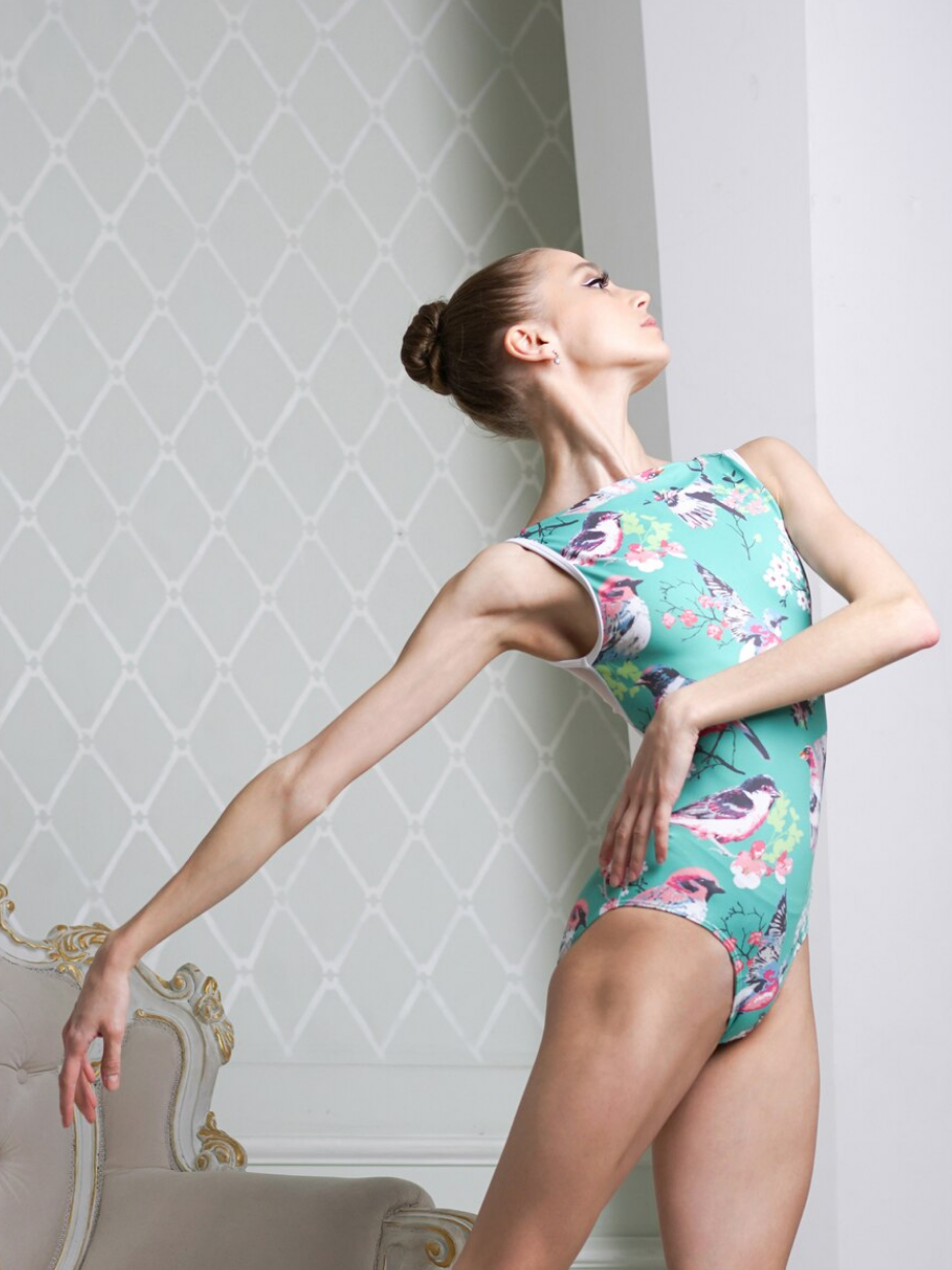 Eleve Dancewear Louise Leotard in Sparrows Print