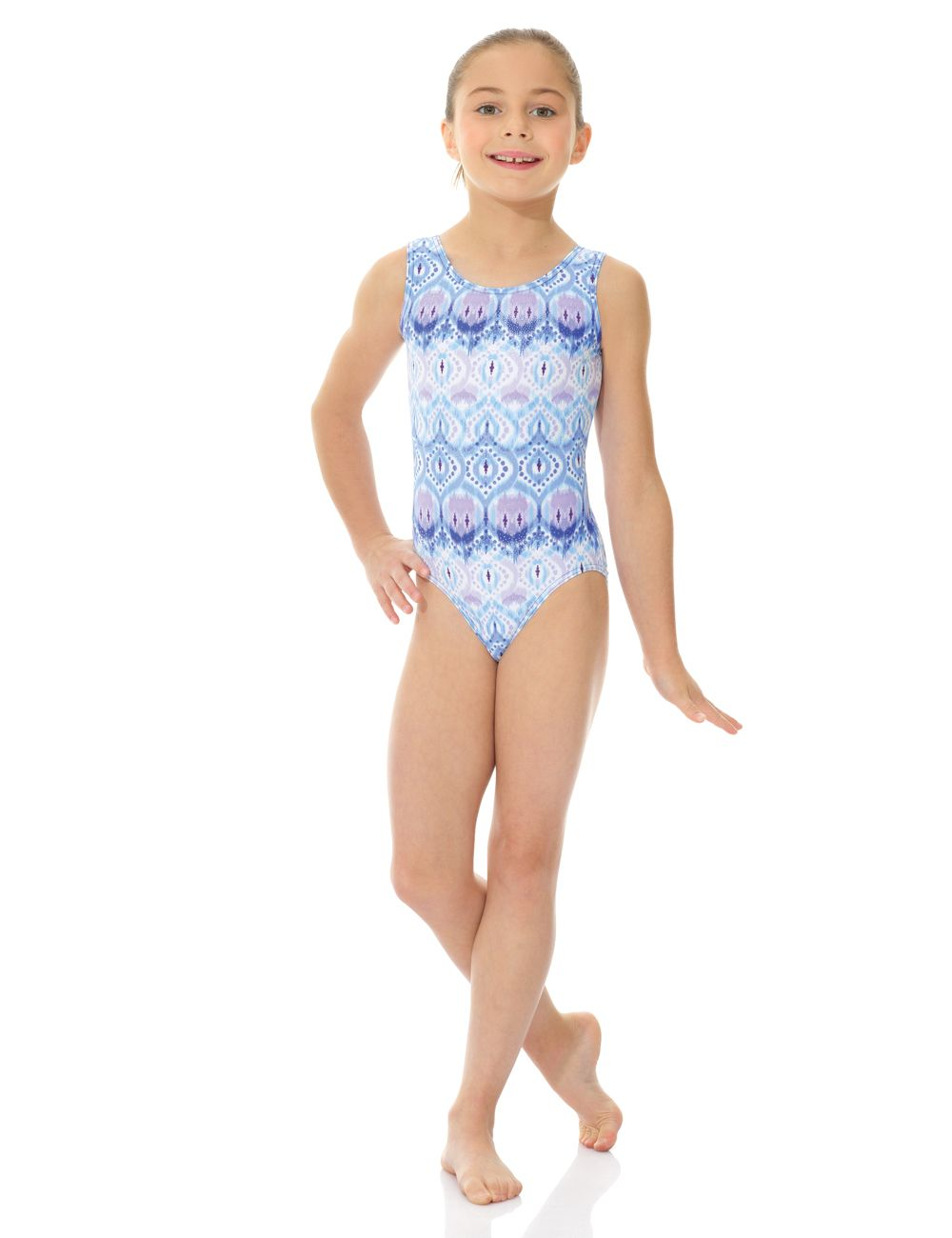 Mondor Print Tank Gymnastics Leotard with matching scrunchie- 7822