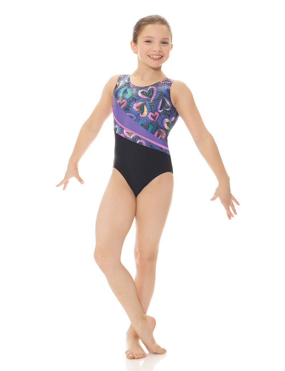 Mondor Girls Contrast Tank Gymnastics Leotard with Scrunchie - 27872