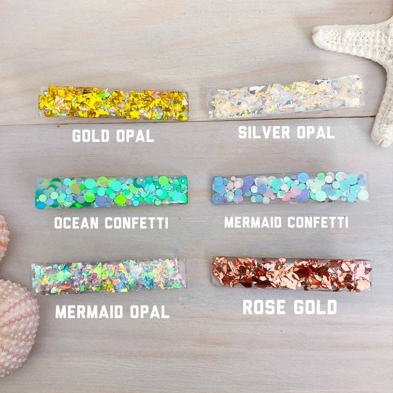 Resin Glitter Hair Clips