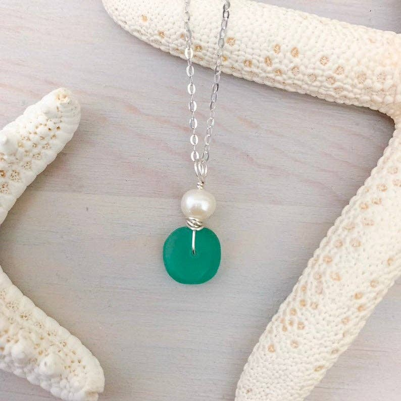 Sea Glass and Pearl Necklace - Assorted Colors