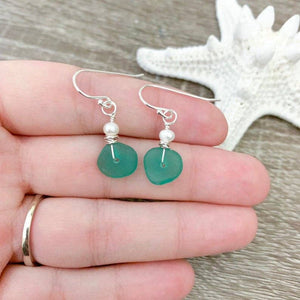 Sea Glass and Pearl Earrings - Assorted Colors