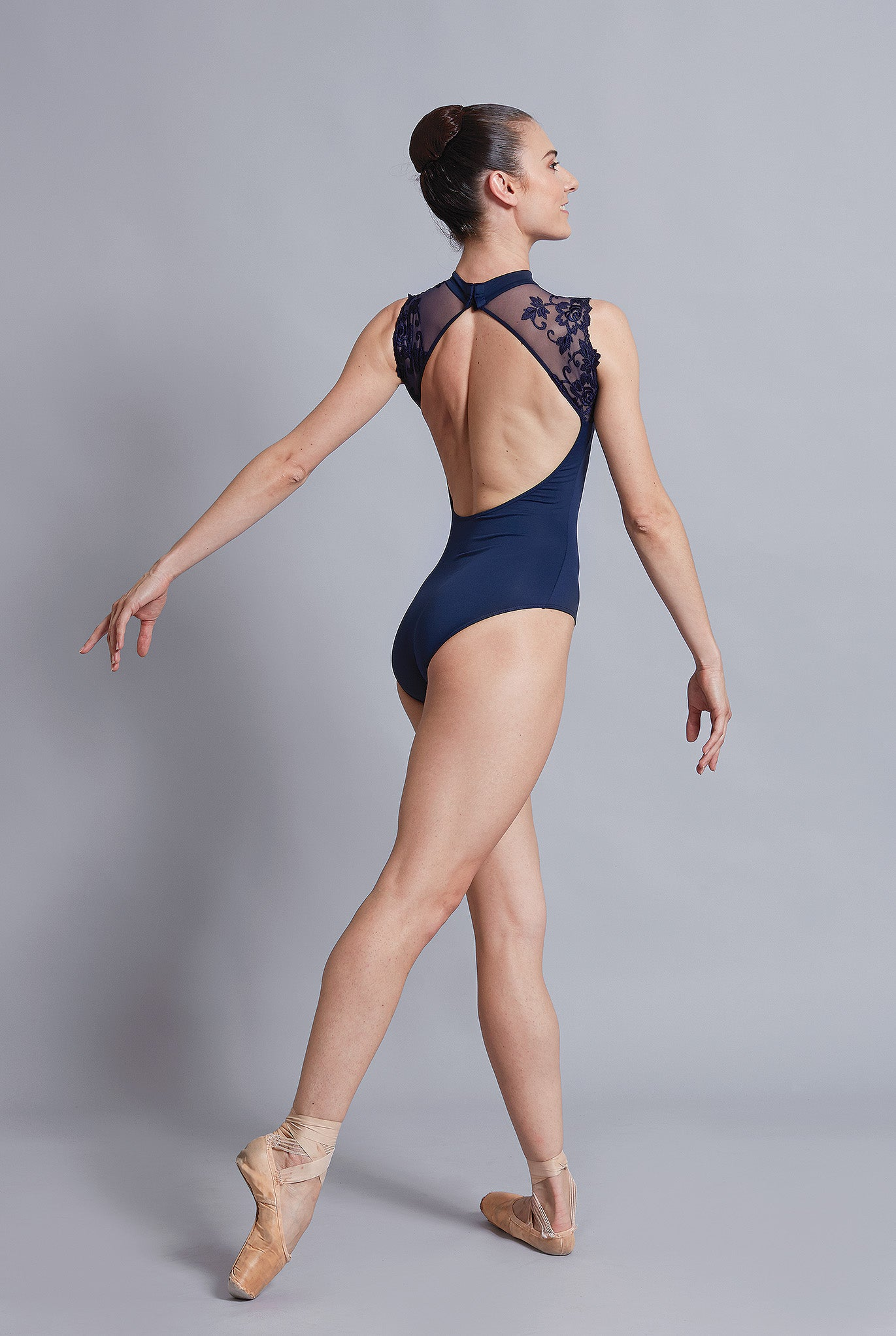 Ballet Rosa Lace and Mesh High Neck Leotard - Berenice