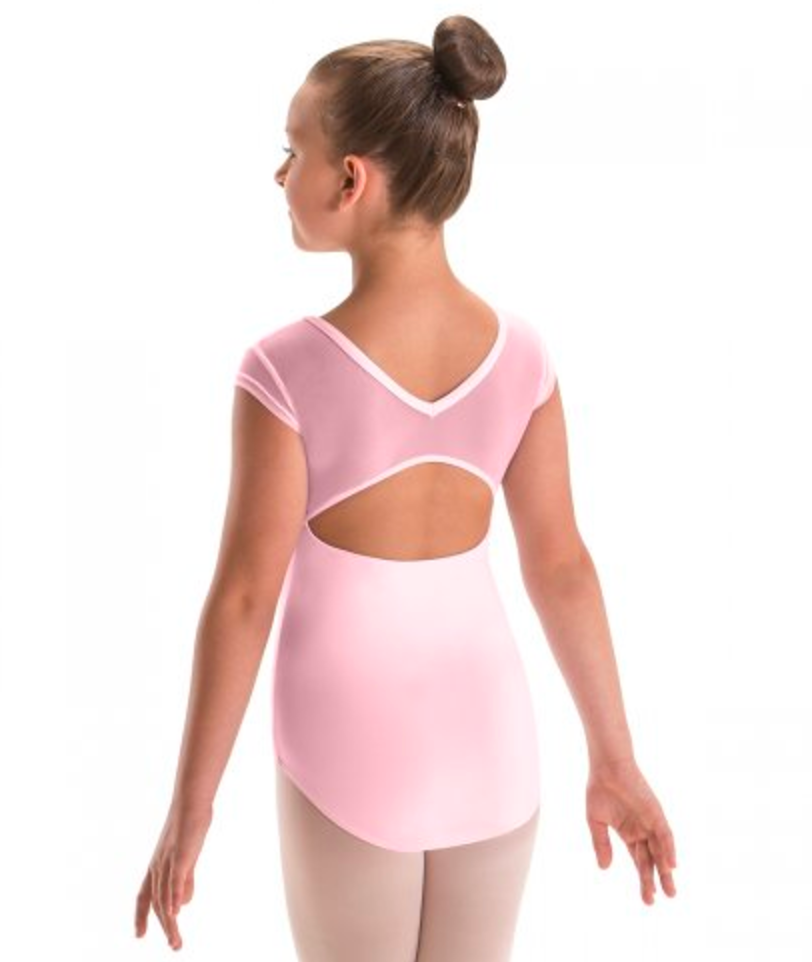 Motionwear Cap Sleeve Leotard with Patterned Mesh - 2259
