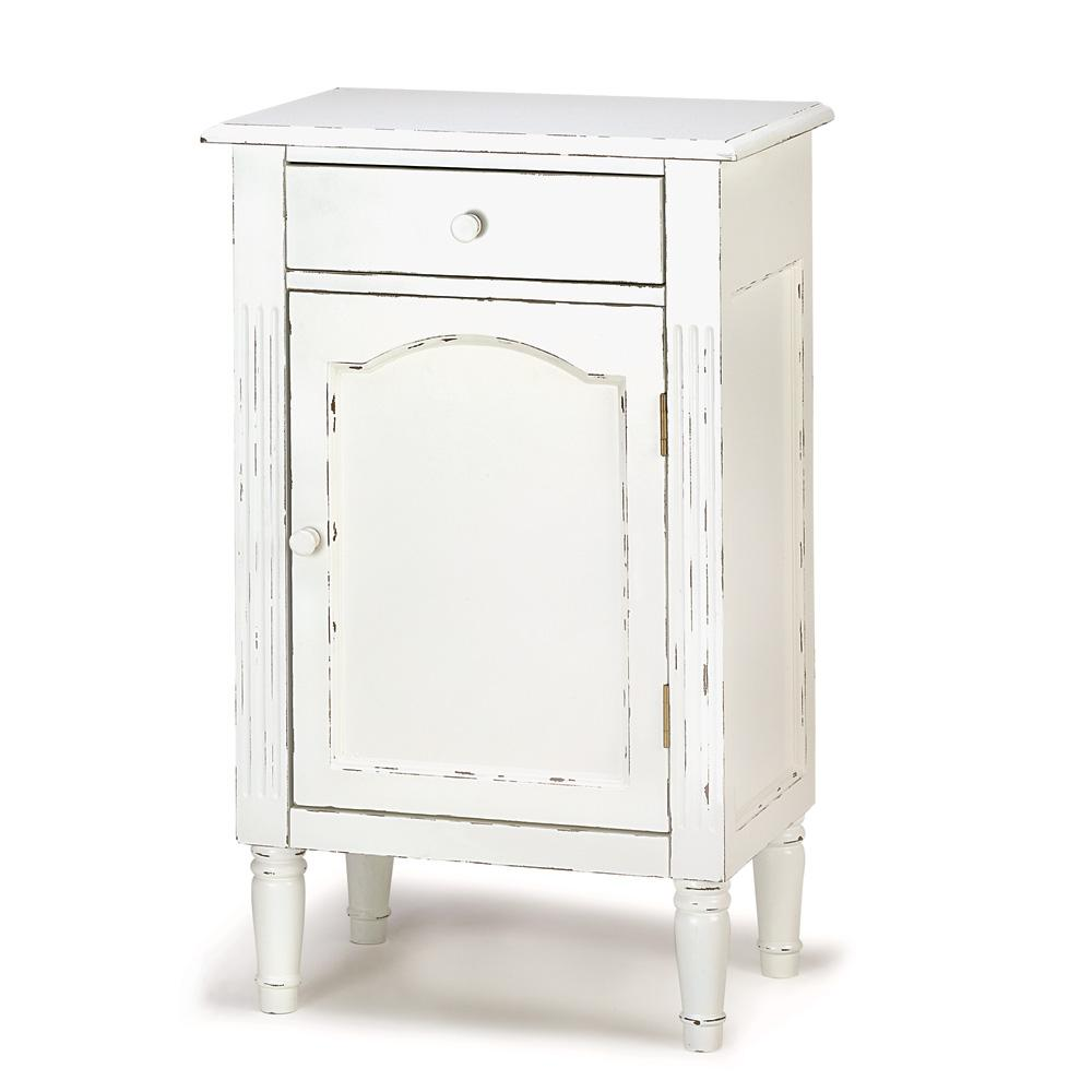 Antiqued-White-Wood-Cabinet