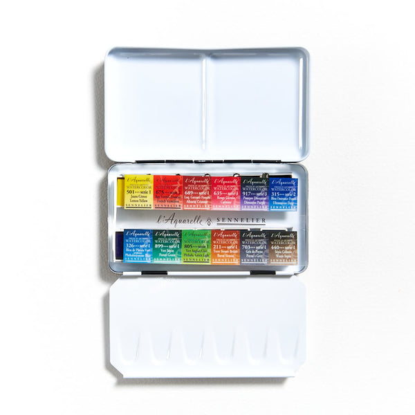 Sennelier Watercolour Pocket Box Half Pan Set of 12